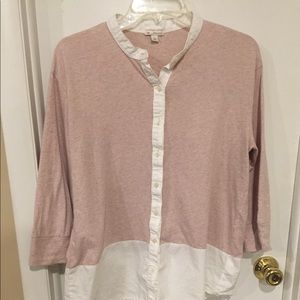 GAP   Color Block Blush and White Blouse